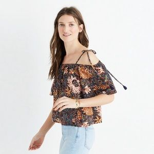 Madewell Silk Cold Shoulder Strappy Sea Floral Top